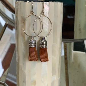 Anthropologie brown tassel lightweight earrings
